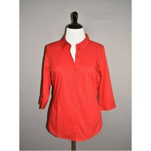 WORTHINGTON NEW Red 3/4 Sleeve Button Down Top